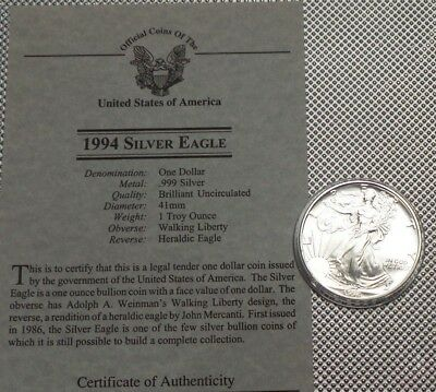1994 Usa  $1 Coin 999 Silver  1 Oz Walking Liberty {13}