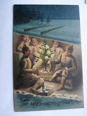 German Military Postcard,Soldiers Celebrate Christmas 1914 in the Field  (2346)