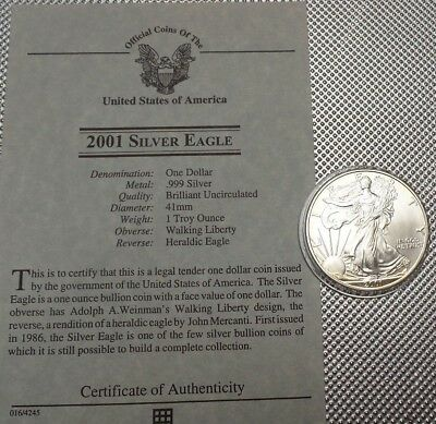 2001 Usa  $1 Coin 999 Silver  1 Oz Walking Liberty {14}