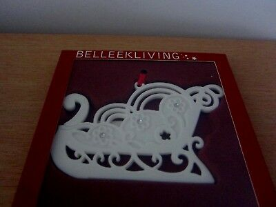 Belleek Living Sleigh/gems Christmas Tree Ornament - Bnib
