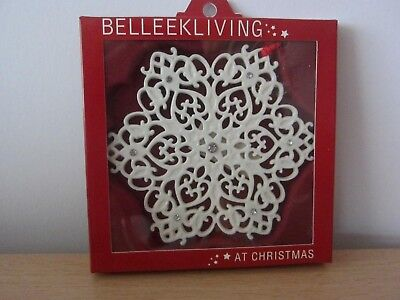 Belleek Living Lace Snowflake/gems Christmas Tree Ornament - Bnib