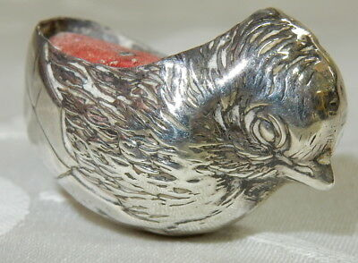 Antique 1907 Sampson Mordan Novelty Chick Silver Pin Cushion Sterling Silver