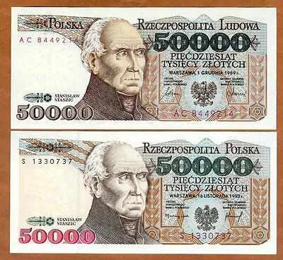 SET Poland, 2 x 50000 Zlotych, 1989,1993 P-153-159, Hyperinflation UNC