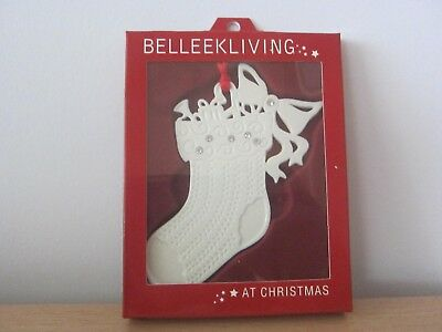 Belleek Living Stocking With Gems Christmas Tree Ornament - Bnib