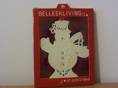 Belleek Living Snowman With Gems Christmas Tree Ornament - Bnib