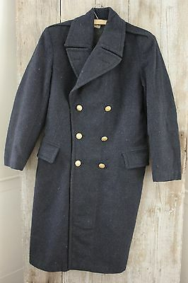 Vintage French wool chore work army men's  coat HEAVY blue Pea Trench