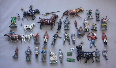 Job Lot Lead Soldiers/Figures/Cowboys/Knights/horses-Sacul/Cherilea (Hospiscare)