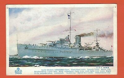 Art Postcard Light Cruiser H.M.S. Ajax
