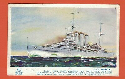 Art Postcard Light Cruiser H.M.S. Berwick
