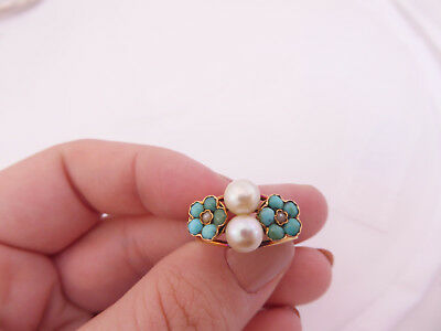 18ct/18k gold natural Pearl & Turquoise Art Nouveau flower ring, 750