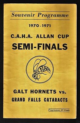 1970-71 Grand Falls NFLD Cataracts at Galt Hornets program and photo