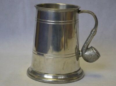 Vintage Pewter Tankard with Decorative Pipe Handle