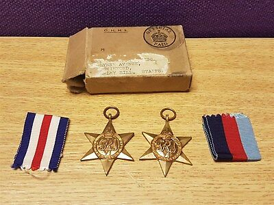 2 World War II Star Service Medals In Original Box With Ribbons