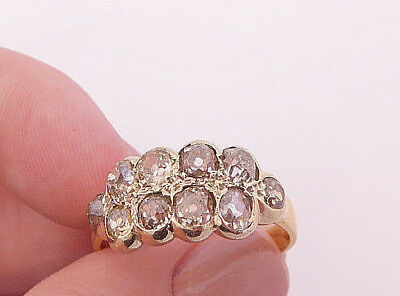 18ct gold 1.5ct old mined cut champagne Diamond 10 stone heavy antique ring, 750