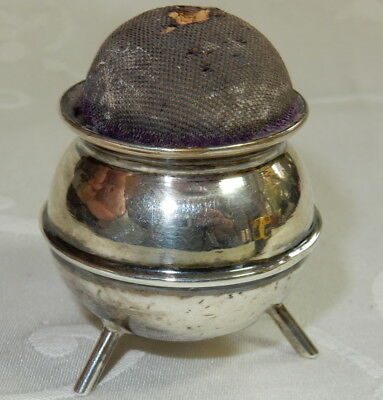 Antique 1907 Cauldron Pin Cushion Sterling Silver Synyer & Beddoes Chester