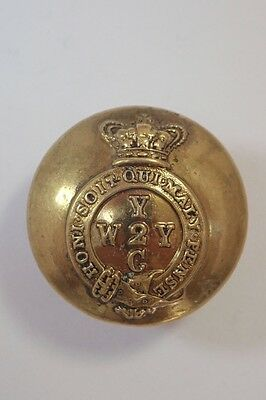 2nd West York Yeomanry  Cavalry original Victorian Officers Large Button.
