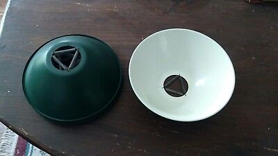 """7 Vtg gas station add on spring mounted shades ceiling light fixture 8"""""""