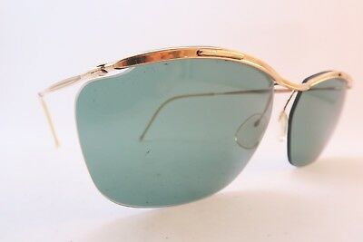 Vintage 50s sunglasses gold filled SOL AMOR green lens made in France SUPERB