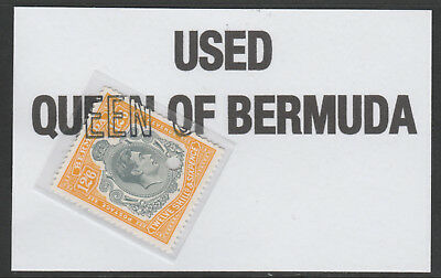 Bermuda 6001 - 1938 KG6 12s6f with part QUEEN OF BERMUDA handstamp used