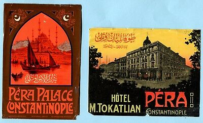 2 Antique Luggage Label PERA PALACE CONSTANTINOPLE & HOTEL MEGUERDITCH TOKATLIAN