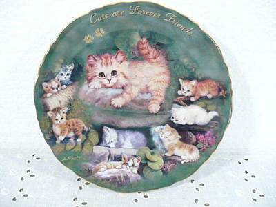 """Bradford Exchange """"Cats are Forever Friends"""" Plate w/ 8 Cats by Jurgen Scholz"""