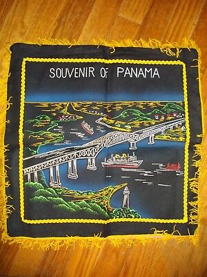 Vintage 1950S Stunning Embroidered Pillow Cover Panama Canal, Scarce!