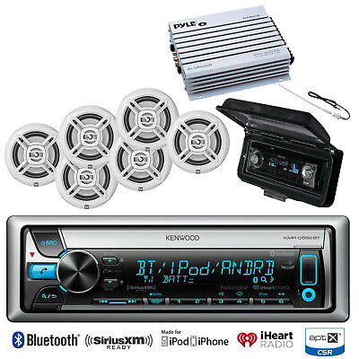 "KMRD768BT Bluetooth CD iPod Marine Radio,Amplifier, Antenna, Cover, 6.5""Speakers"