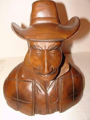 Western COWBOY Wood SCULPTURE Detailed Carving Bust