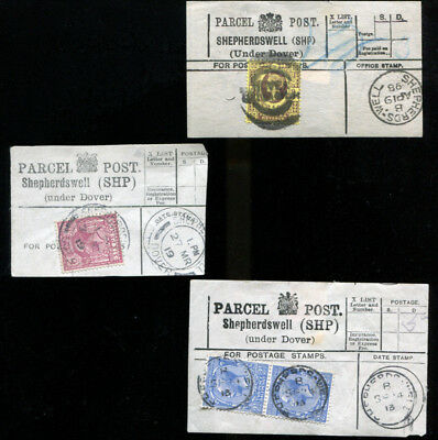 Shepherdswell Under Dover Kent 3 Parcel Post Labels 1898 1913/19
