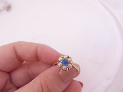 18ct/ 18k gold cultured Pearl & cabochon blue spinel ring, 750