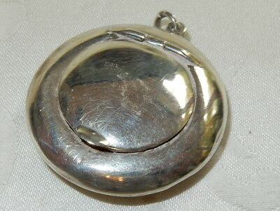 Antique 1916 Sterling Silver Hinged Circular Snuff Pill Box Pot + Fob Loop