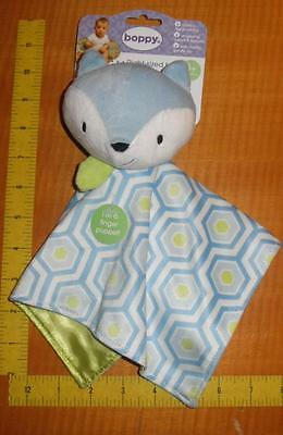Boppy Baby First's plush Toy Finger Puppet Security Blanket Lovey Blue Fox Green