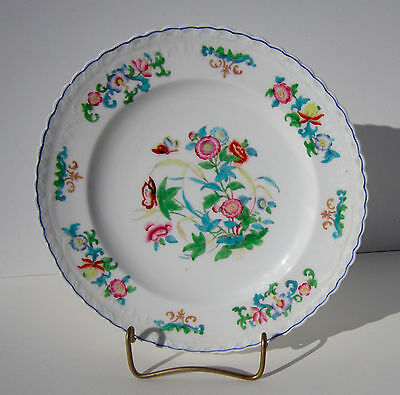 Antique Minton & Boyle Chinoiserie Porcelain Hand Painted Plate Floral Butterfly