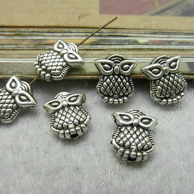 30pc Charms 2-Sided Owl Animal Spacer Beads Findings Retro Tibetan Silver S127T