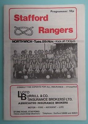 STAFFORD RANGERS v NORTHWICH 1977 - 1978 Northern Premier League