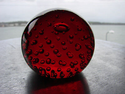 Red Whitefriars Bubble Glass Paperweight