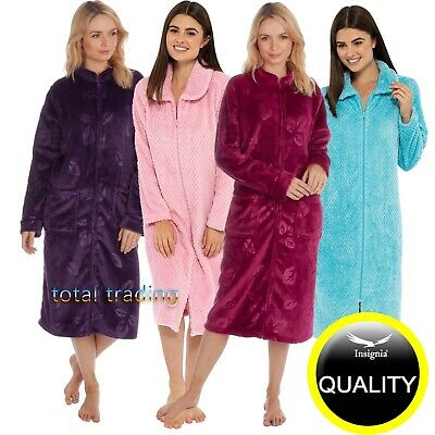 Ladies Womens Dressing Gowns Robe Zip Down Or Button Up Through