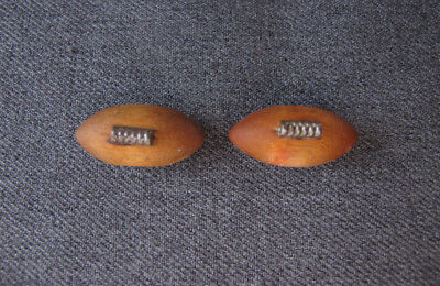 2 Vintage silvered meta wooden football ball shaped buttons  #2