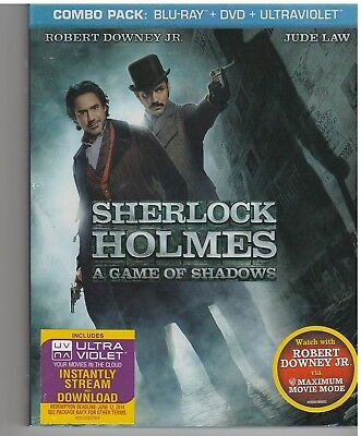 SHERLOCK HOLMES GAME OF SHADOWS (Blu-ray/DVD, 2012, 2-Disc Set) WITH SLEEVE