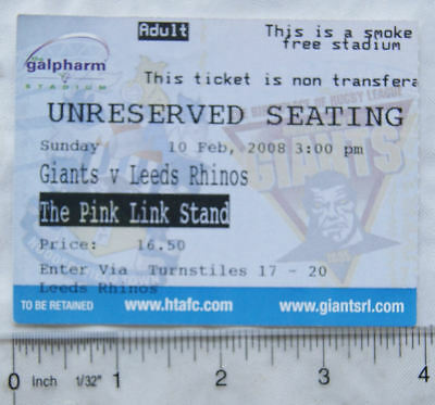 2008 ticket Huddersfield Giants v. Leeds Rhinos