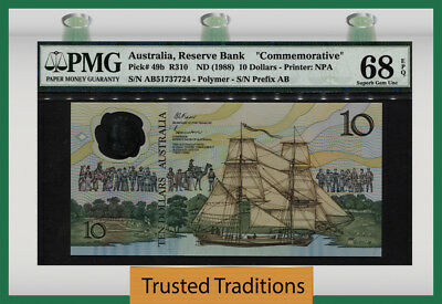 "TT PK 49b 1988 AUSTRALIA 10 DOLLARS ""COMMEMORATIVE"" PMG 68 EPQ SUPERB GEM UNC!"