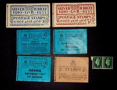 Great Britain Booklet collection with stamp remainders George V-George VI.