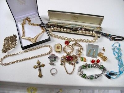Job Lot 9ct Gold Plated Silver Metal Vintage Antique Jewellery Brooches Necklace