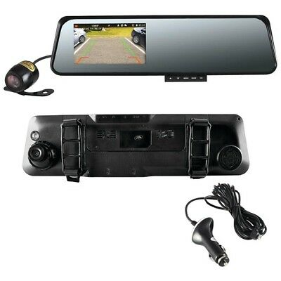 """pyle PLCMDVR42 HD Rearview Mirror With 4.5"""" Monitor Dual Car Backup Camera"""