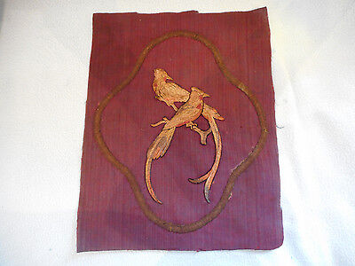 Antique Victorian Embroidery Of Two  Parrots