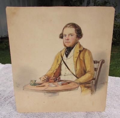 ANTIQUE 19thC VICTORIAN PORTRAIT OF A MALE ARTIST- DATED 1841 - SIGNED