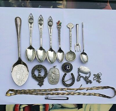 Job lot vintage solid silver brooches spoons pendant badge 148g scrap or collect
