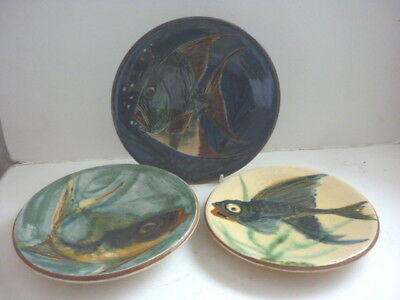 Two Puigdemont Slip Ware Fish Wall Plaques Plus One Other