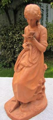 Rare Large Antique 19thC Watcombe Torquay Terracotta Figure Dated 1875