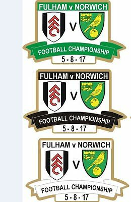 Fulham Norwich City Limited Edition Championship 2017 3 Coloured Badges